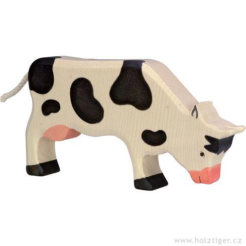 Strakatá černá kravička napastvě – dřevěné zvířátko - Holztiger