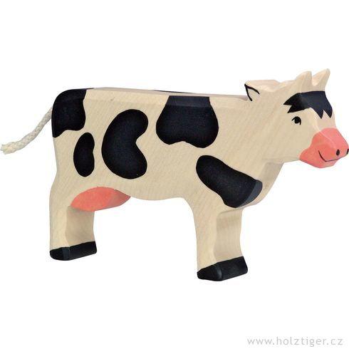 Stojící černá strakatá kravička – dřevěné zvířátko - Holztiger