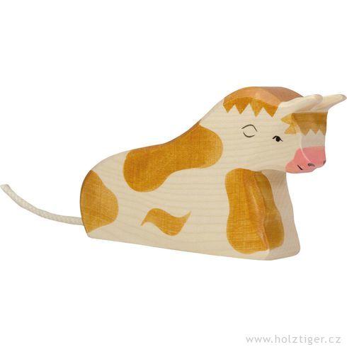 Ležící hnědý strakatý býček – dřevěné zvířátko - Holztiger