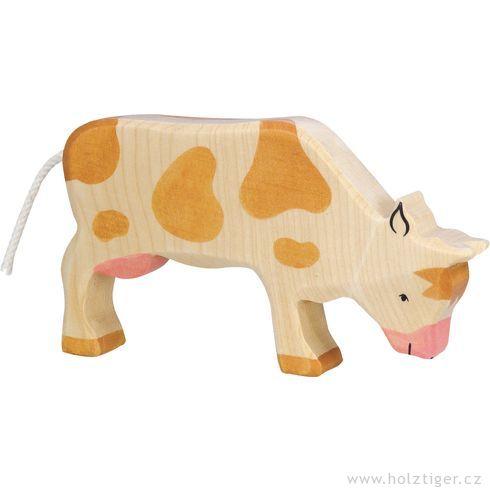 Hnědá strakatá kravička napastvě – dřevěné zvířátko - Holztiger