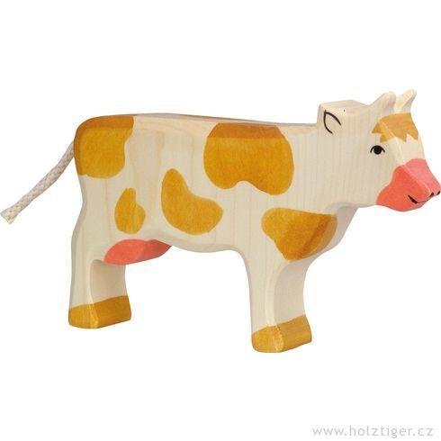 Stojící hnědá strakatá kravička – dřevěné zvířátko - Holztiger