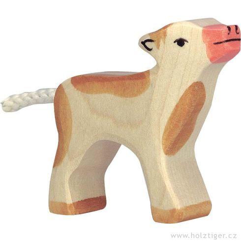 Malé hnědé strakaté telátko – zvířátko zedřeva - Holztiger