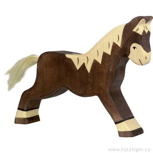 Běžící tmavě hnědý koník – dřevěné zvířátko - Holztiger