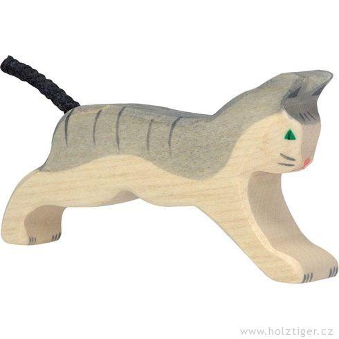 Běžící šedá kočka- dřevěné zvířátko - Holztiger