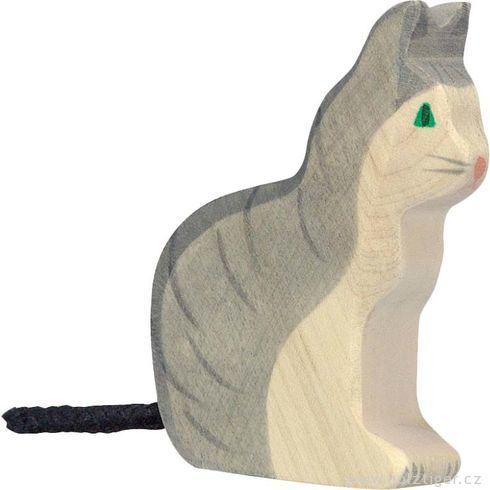 Sedící šedá kočka – dřevěné zvířátko - Holztiger