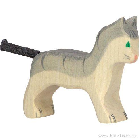 Malá šedivá kočička – dřevěné zvířátko - Holztiger