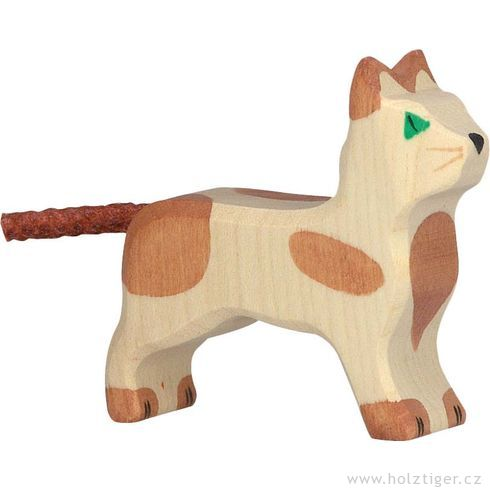 Strakatá hnědá kočička – dřevěné zvířátko - Holztiger