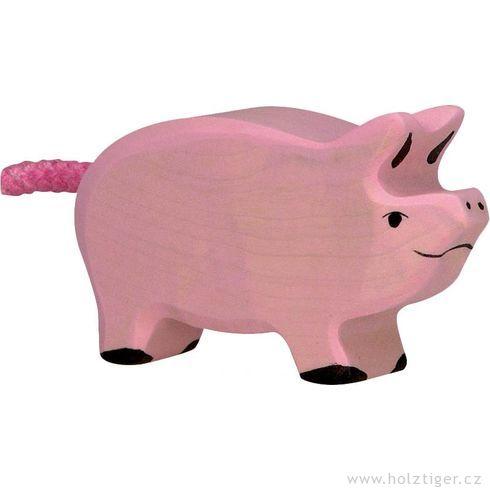Stojící růžové selátko – dřevěné zvířátko - Holztiger