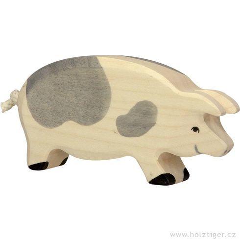 Stojící strakatá prasnice  – dřevěné zvířátko - Holztiger