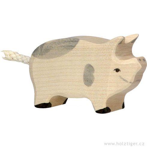 Stojící strakaté selátko  – dřevěné zvířátko - Holztiger