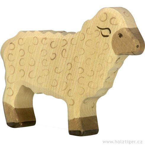 Stojící bílá ovečka – zvířátko zedřeva - Holztiger