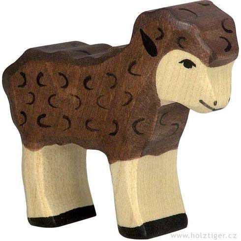 Hnědé stojící jehňátko – zvířátko zedřeva - Holztiger