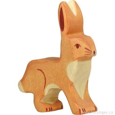 Zajíček snastraženýma ušima  – dřevěné zvířátko - Holztiger