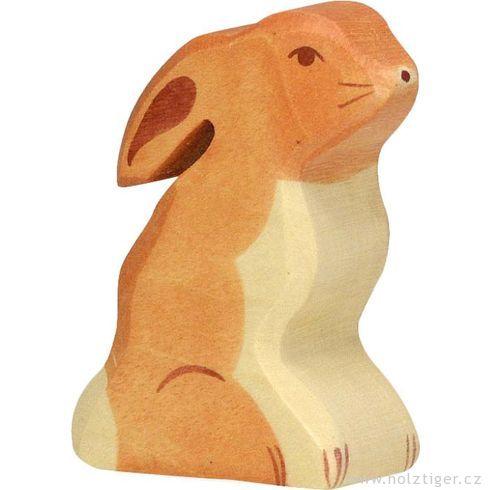 Sedící zajíček – dřevěné zvířátko - Holztiger