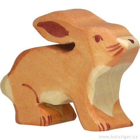 Zajíček sesklopenýma ušima – dřevěné zvířátko - Holztiger