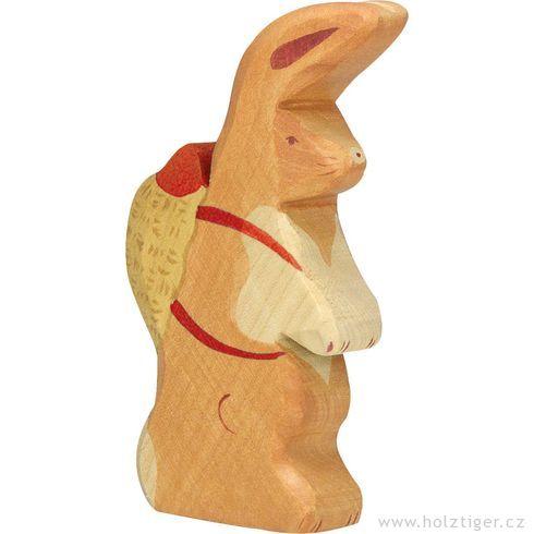 Velikonoční zajíček snůší – vyřezávané zvířátko zedřeva - Holztiger