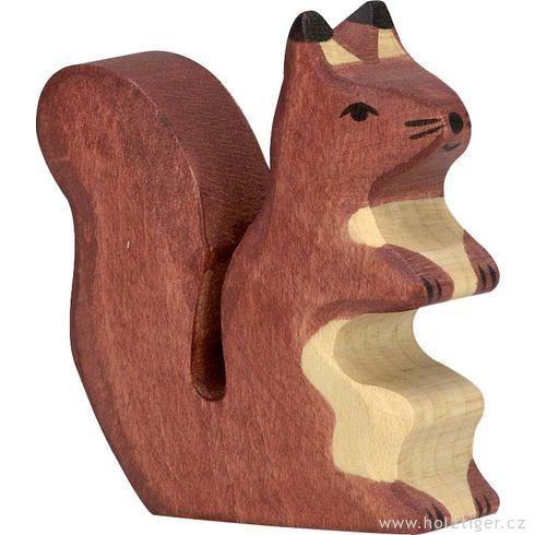 Stojící hnědá veverka – dřevěné zvířátko zlesa - Holztiger