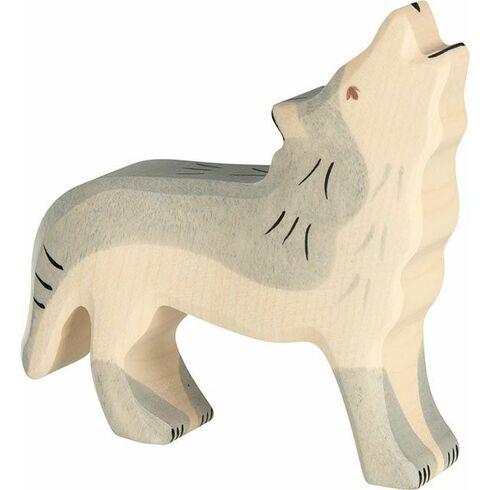 Vyjící šedý vlk– dřevěné zvíře zlesa - Holztiger