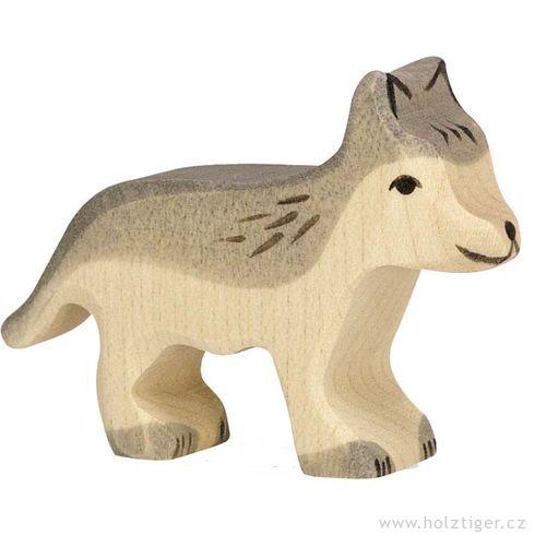Malé šedé vlče – dřevěné zvíře zlesa - Holztiger