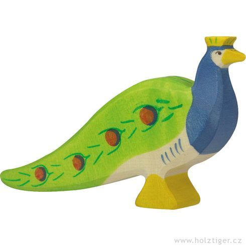 Páv – pták vyřezaný zedřeva - Holztiger