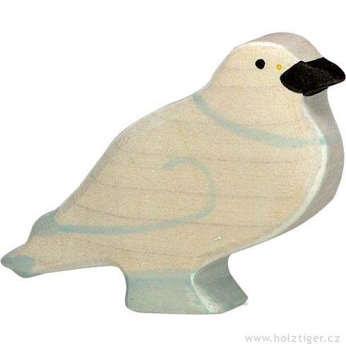 Bílý holub – pták vyřezaný zedřeva - Holztiger