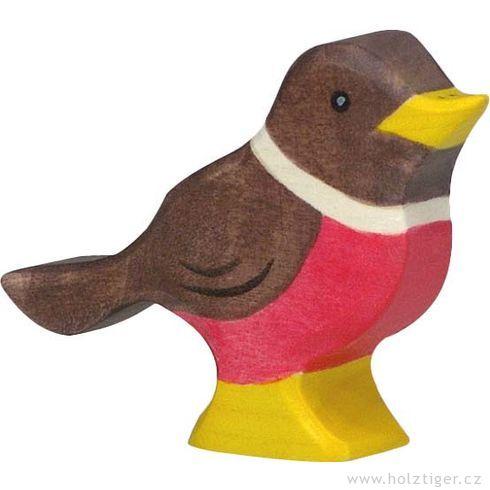 Červenka – ptáček vyřezaný zedřeva - Holztiger