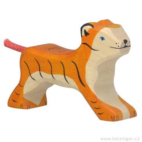 Malý běžící tygřík – vyřezávané dřevěné zvířátko - Holztiger