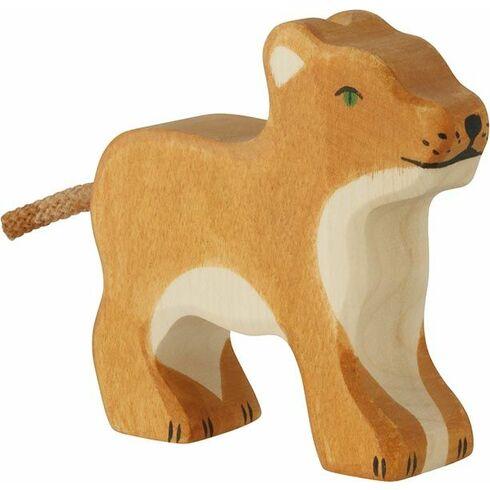 Stojící malé lvíče – dřevěné zvíře - Holztiger