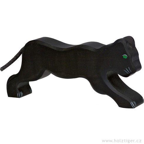 Černý levhart – dřevěné zvíře - Holztiger