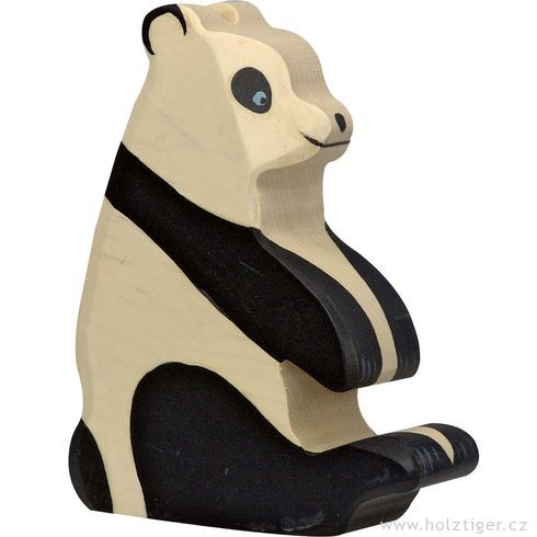 Panda medvídek sedící – vyřezávané zvířátko zedřeva - Holztiger