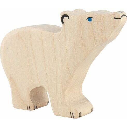 Lední medvídek sezvednutou hlavou – dřevěná hračka - Holztiger
