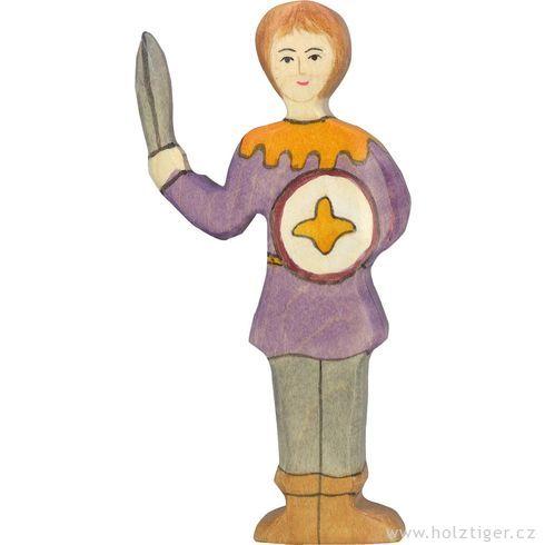 Panoš smečem vefialové košili  – dřevěná vyřezávaná figurka - Holztiger