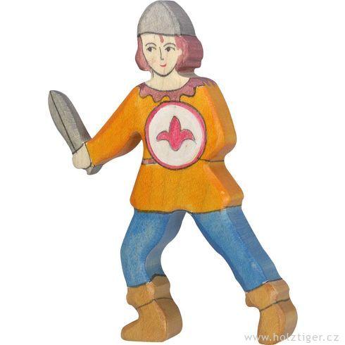 Panoš smečem voranžové košili – dřevěná vyřezávaná figurka - Holztiger