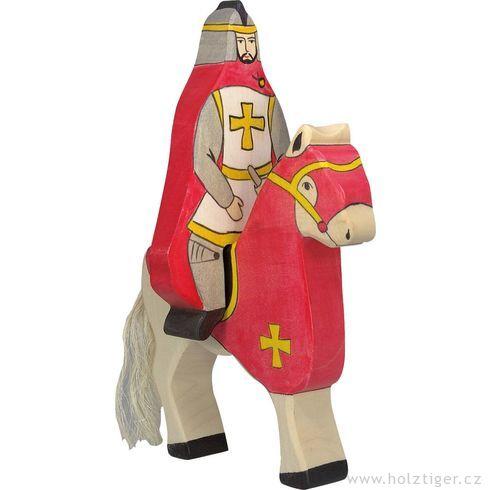 Červený rytíř vplášti jedoucí nakoni (bez koně) – vyřezávaná postavička zedřeva - Holztiger