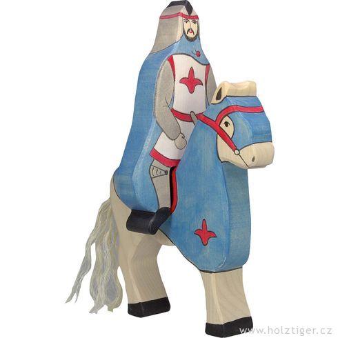 Modrý rytíř vplášti  jedoucí nakoni (bez koně) – vyřezávaná postavička zedřeva - Holztiger