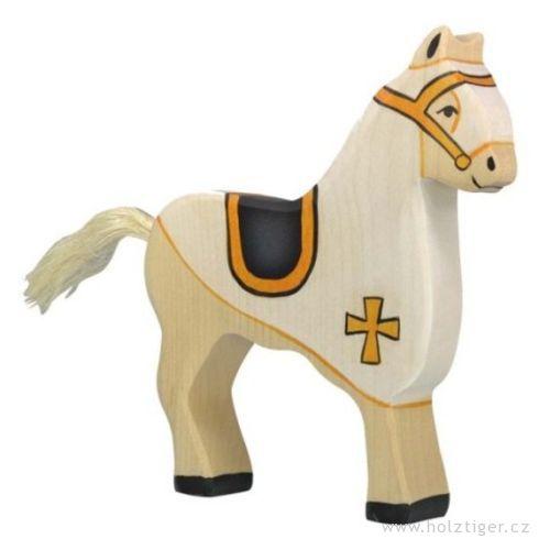 Bílý turnajový kůň – vyřezávaná dřevěná figurka - Holztiger