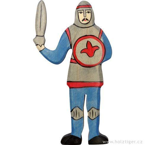 Modrý rytíř smečem – vyřezávaná dřevěná figurka - Holztiger