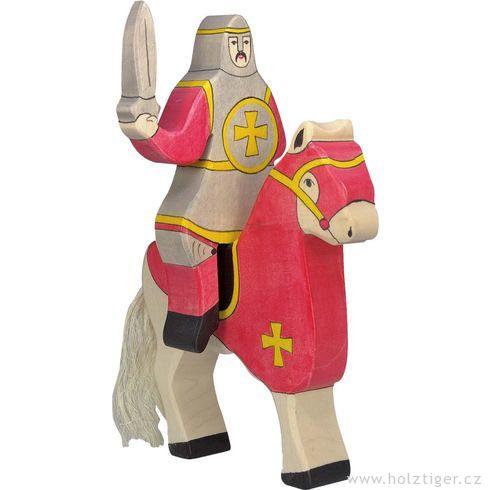 Červený rytíř jedoucí nakoni (bez koně) – vyřezávaná dřevěná figurka - Holztiger