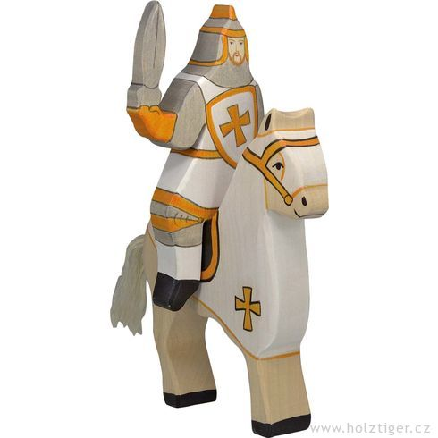 Bílý turnajový rytíř (bez koně)  – vyřezávaná dřevěná figurka - Holztiger