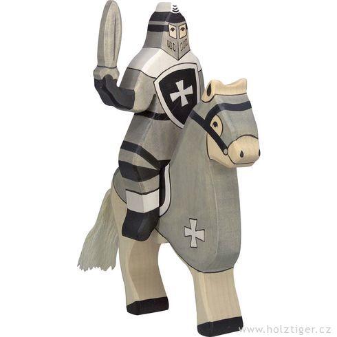 Šedý turnajový rytíř (bez koně) – vyřezávaná dřevěná figurka - Holztiger