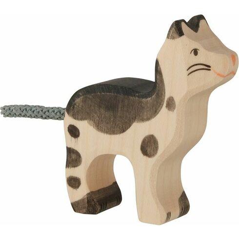 Strakatá černobílá kočička – dřevěná hračka - Holztiger