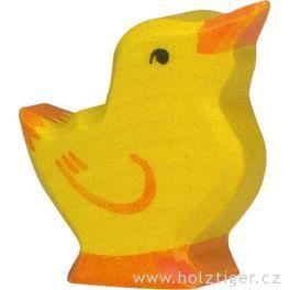 Kuřátko sezdviženou hlavou – vyřezávaná dřevěná hračka