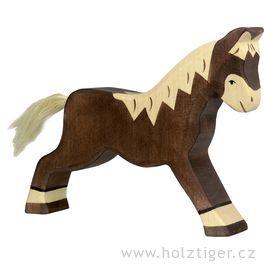 Koník tmavě hnědý, běžící – dřevěné zvířátko