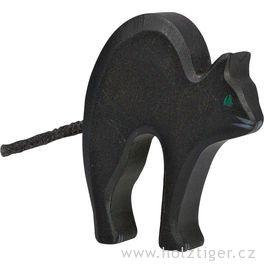 Kočička černá – vyřezávaná dřevěná hračka