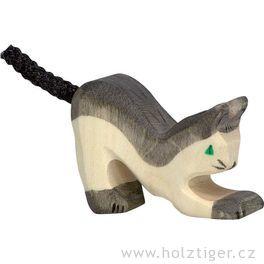 Kočička černá, malá – vyřezávaná dřevěná hračka