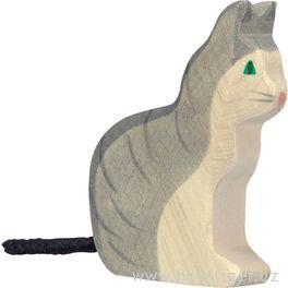 Kočička sedící – vyřezávaná dřevěná hračka
