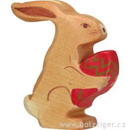 Velikonoční zajíček sedící – vyřezávané zvířátko zedřeva