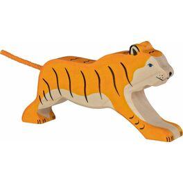 Běžící tygr – vyřezávané dřevěné zvířátko