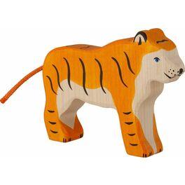 Stojící tygr – vyřezávané dřevěné zvířátko
