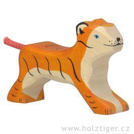 Malý běžící tygřík – vyřezávané dřevěné zvířátko